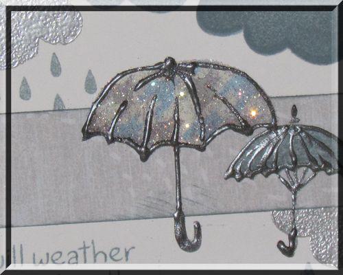 Rain card closeup of umbrellas