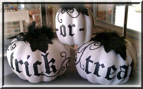 White pumpkins trick or treat