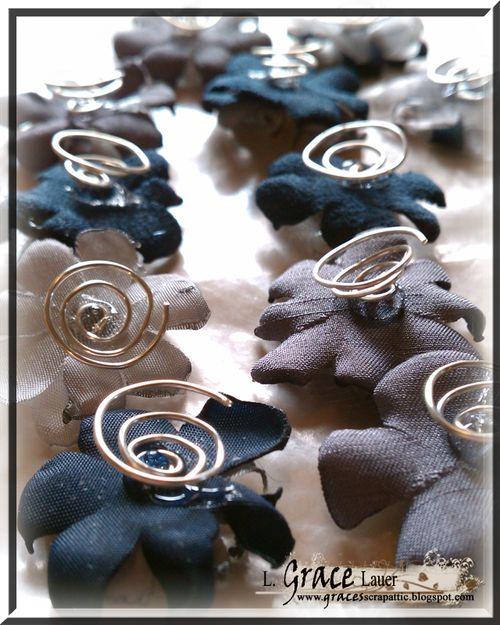 Mini fabric Flowers backs bridal wedding hair