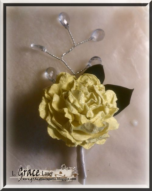 Ring Bearer boutineer paper flowers Helmar wedding