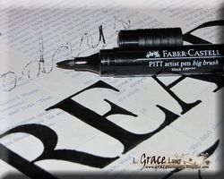 Helmar Gesso Faber Castell Crayon Canvas Readers are leaders PIT pen drawing letters