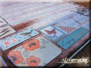 Clipboard and decoupage teacher gift authentique gathering paper Helmar L Grace Lauer close up