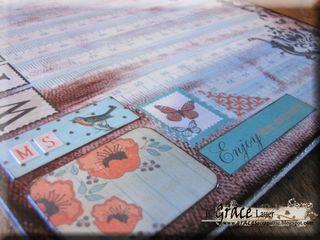 Clipboard and decoupage teacher gift authentique gathering paper Helmar L Grace Lauer close up