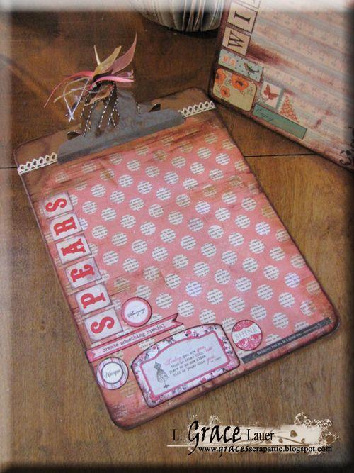 Clipboard and decoupage teacher gift authentique uncommon paper Helmar L Grace Lauer