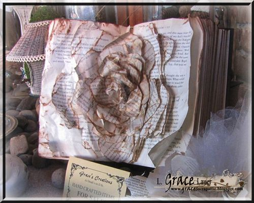 Rose Art from an Altered Hard Back Book