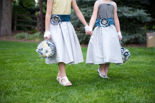 Flower Girl poms wedding walk
