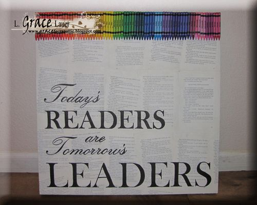 Helmar Gesso Faber Castell Crayon Canvas Readers are leaders crayons all glued on
