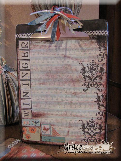 Clipboard and decoupage teacher gift authentique gathering paper Helmar L Grace Lauer