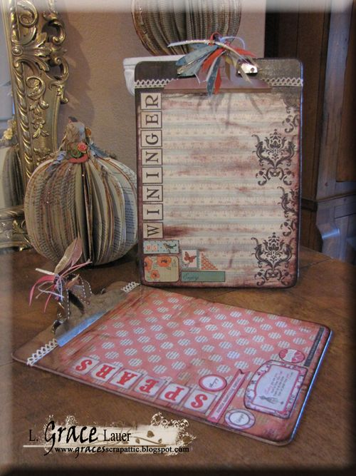 Clipboard and decoupage teacher gift Authentique paper Helmar L Grace Lauer