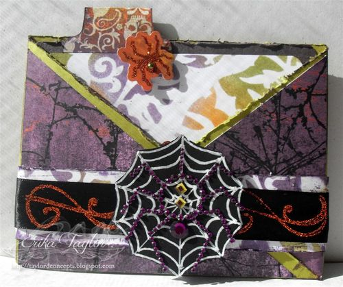 Helmar-ArtInstitute-ErikaTaylor-Halloween-Invitation-Spiders-Glitter-Ribbon-Distressed-Purple (Large)