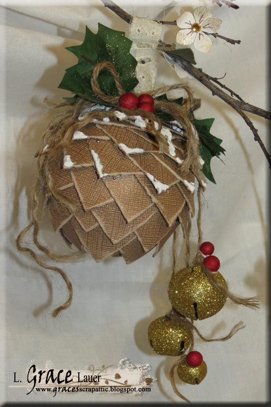 Pinecone ornament Coredinations Cardstock holy helmar Grace Lauer bells