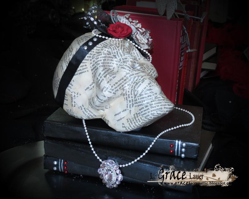 Halloween Glam Skull Book end Helmar L Grace Lauer