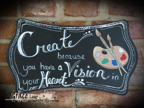 Create Vision Heart chalkboard plaque book art Grace lauer Helmar
