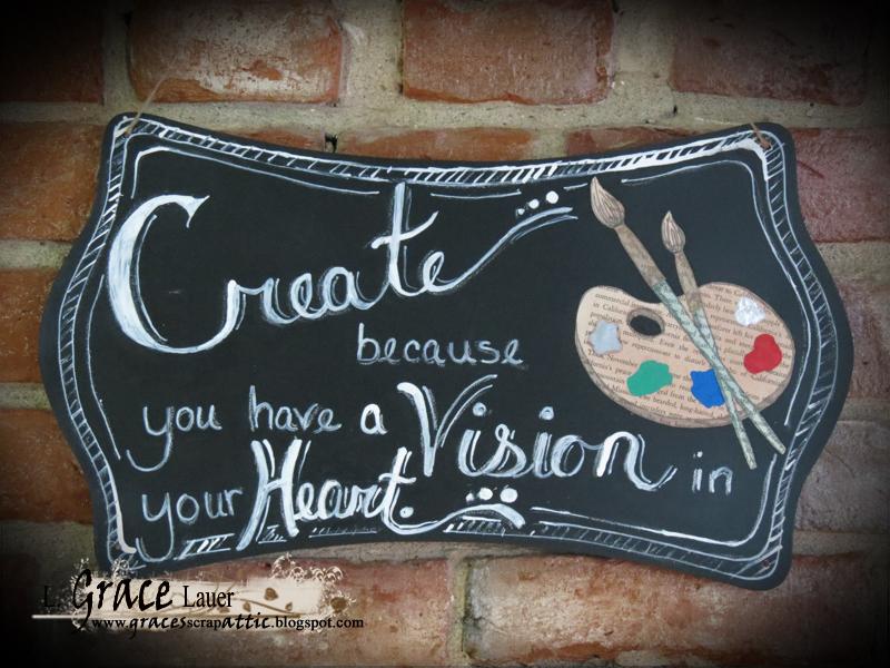 Create Vision Heart chalkboard plaque book art Grace lauer Helmar