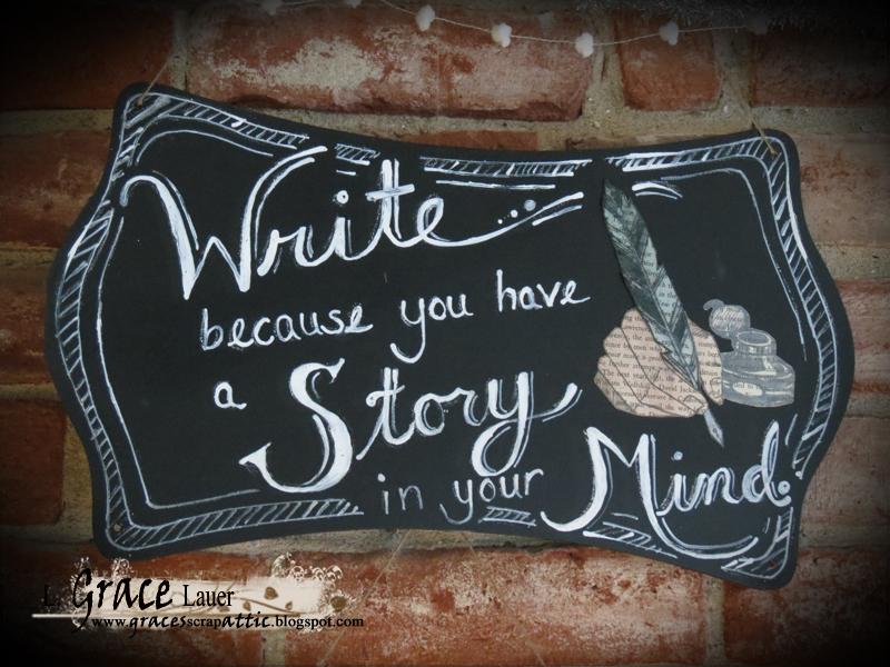 Write story mind chalkboard plaque book art Grace lauer Helmar