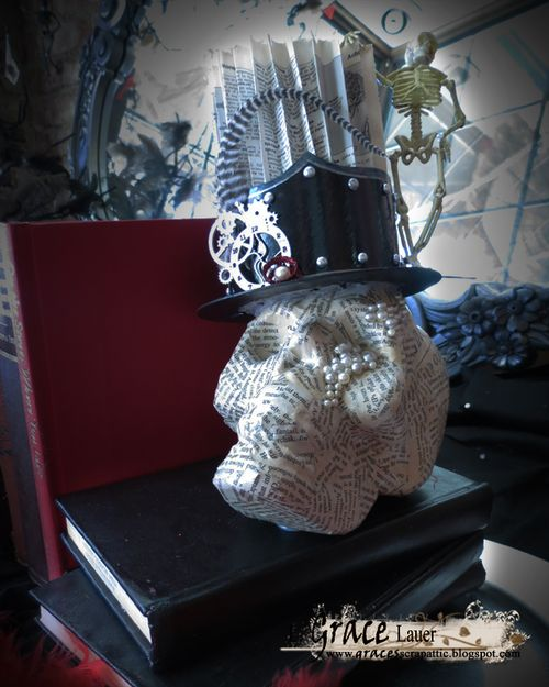 Halloween Glam Skull top hat steampunk Book end Helmar L Grace Lauer