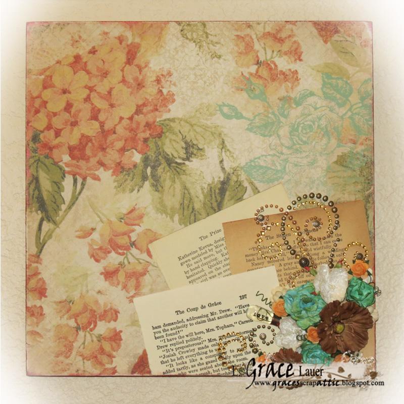 Wall art Scrapbook Paper Kaiser Craft Helmar L Grace Lauer Book Pages Bling Flowers Prima