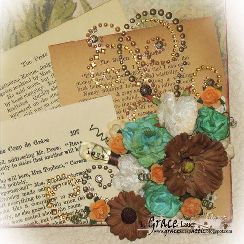 Wall art Scrapbook Paper Kaiser Craft Helmar L Grace Lauer Book Pages Bling Flowers Prima Close up