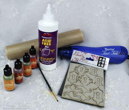 Rusty Metal Chipboard Tutorial for Helmar ~ Tracey Sabella gracescraps.blogspot.com