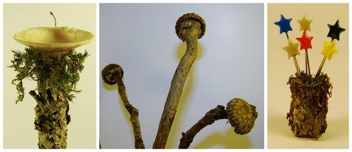 Fairy birdbath, mushrooms and wand stand - sandee setliff
