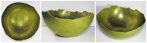 Center, side views of bowl
