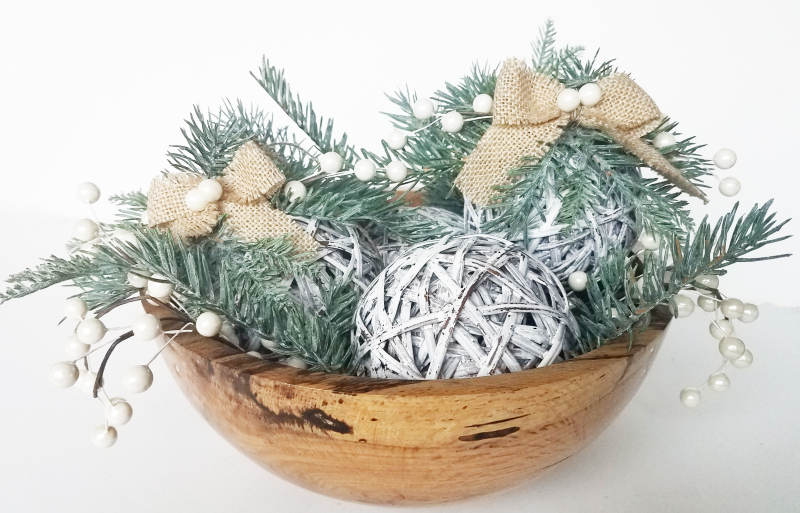 Grapevine ball ornament bowl display by erin reed
