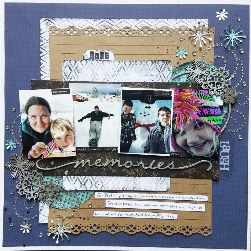 Winter scrapboook mixed media page by erin reed