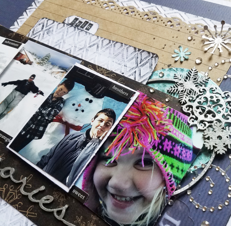 Winter scrapboook mixed media page by erin reed 2